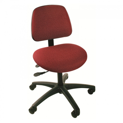 Cloth and Vinyl Seating Task Series with Seat Tilt, Large Ergo Backrest, and Dual Wheel Casters. Model CT-1-LEB-C