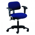 Cloth and Vinyl Seating Task Series with Seat Tilt, Adjustable Armrests, and Dual Wheel Casters.  Model CT-1-EAA-C