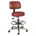 Vinyl Round Series Stool with Backrest, Foot Ring, Metal Base and Dual Wheel Casters Model: VBRM-3-C