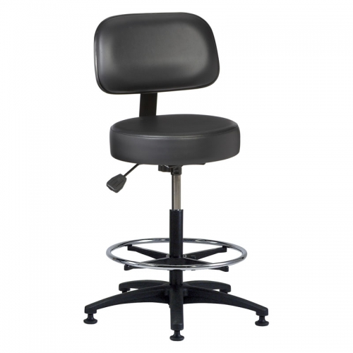Vinyl Round Series Stool with a Backrest, Foot Ring and a Plastic Base  Model: VRB-2
