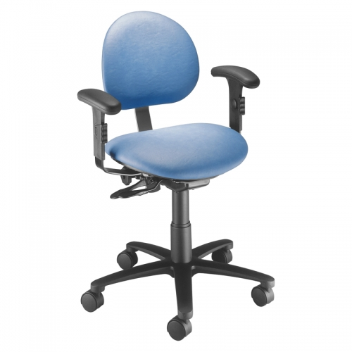 Millennium Series Task Stool with Backrest and Arm Rests. Model 21435BA
