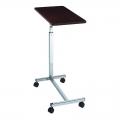 """H"" Base Table Shown in Walnut Grain Laminate top, Chrome Base 11610"